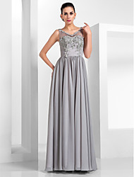 A-Line Princess V-neck Floor Length Chiffon Tulle Formal Evening Military Ball Dress with Beading Appliques Draping by TS Couture®