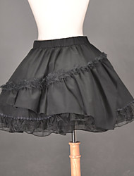 Knee-length Black Cotton Multi-Layered Ruffles Classic Lolita Skirt
