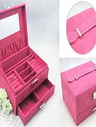 Therer Layers Vierkant Holz Und Flannelette Damenschmuck Box