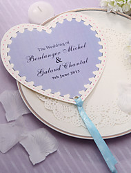 Personalized Heart Shaped Paper Hand Fan - lilac Print(Set of 12)