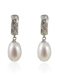 Charmant 925 Sterling Silver Pearl et boucles d'oreilles Cubic Zirconia Huggie