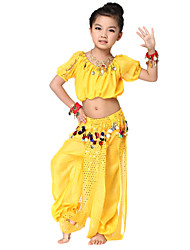 Performance Dancewear Chiffon with Coins Belly Dance Outfit Top and Bottom For Children