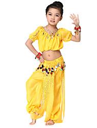 Dancewear desempenho Chiffon com moedas de dança do ventre Outfit superior e inferior para Crianças