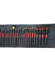 28pcs escova cosmética profissional com capa de couro vermelha grátis