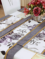 Set of 4 Ink Floral Pattern Poly / Cotton Placemats
