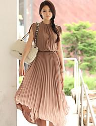 ícone senhora cor do vestido de chiffon praia sólida (except.belt)