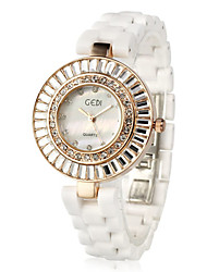 Elegant Ceramic Round Crystal Quartz Movement Women's Watch
