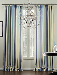 Mediterranean Two Panels Stripe Multi-color Living Room Polyester Panel Curtains Drapes