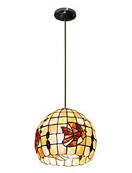 80W Vintage Tiffany Pendentif avec Colorful Nature Matériel de Shell Shade intégré dans Tropical Fish Feature
