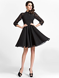 TS Couture® Cocktail Party Dress - Black Plus Sizes / Petite A-line / Princess High Neck Knee-length Chiffon / Lace