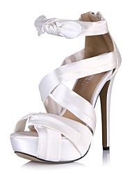 plataforma de tacón stiletto sandalias de satén zapatos de fiesta y de noche de las mujeres