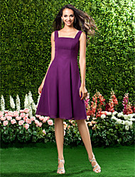 Knee-length Chiffon Bridesmaid Dress - Grape Plus Sizes / Petite A-line Straps / Square