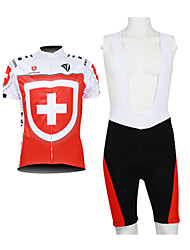 KOOPLUS® Cycling Jersey with Bib Shorts Men's Short Sleeve Bike Breathable / Waterproof Zipper / Front Zipper / WearableJersey / Jersey +