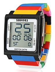 unisex touch screen lcd digital multi-funcional colorido plástico faixa de relógio de pulso