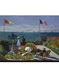 The Terrace at Sainte-Adresse, 1867 by Claude Monet Famous Stretched Canvas Print