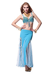 Dancewear Crystal Cotton with Cryatal Belly Dance Outfits Top and Skirt For Ladies