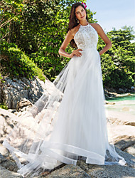 Lanting A-line/Princess Plus Sizes Wedding Dress - Ivory Chapel Train High Neck Organza/Lace