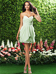 Lanting Bride® Short / Mini Chiffon Bridesmaid Dress - Sheath / Column Strapless / SweetheartApple / Hourglass / Inverted Triangle / Pear
