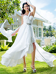 Lanting Bride A-line / Princess Petite / Plus Sizes Wedding Dress-Asymmetrical One Shoulder Chiffon