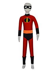 Black and Red Spandex Superhero Costume Kid's Zentai (6-8 YRS)