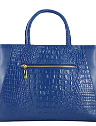 EUNI Dark Blue Crocodile Pattern Leather Tote
