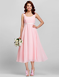 Tea-length Chiffon Bridesmaid Dress - Sheath / Column ScoopApple / Hourglass / Inverted Triangle / Pear / Rectangle / Plus Size / Petite