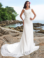 Lanting Bride® Sheath / Column Petite / Plus Sizes Wedding Dress - Chic & Modern / Elegant & Luxurious Chapel Train Straps Chiffon with