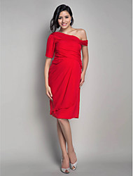 TS Couture® Cocktail Party Dress - Short Maternity Sheath / Column One Shoulder Knee-length Chiffon with Side Draping