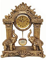 Two Elephants Polyresin Table Clock