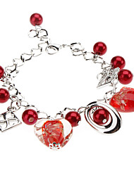 Gem Heart-Shaped Pendant Bracelet