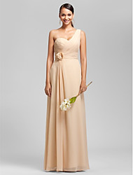 Floor-length Chiffon Bridesmaid Dress - Plus Size / Petite Sheath/Column One Shoulder / Sweetheart
