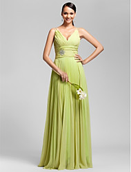 Floor-length Chiffon Bridesmaid Dress - Lime Green Plus Sizes Sheath/Column V-neck/Spaghetti Straps