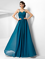 A-Line Princess Spaghetti Straps Sweetheart Floor Length Chiffon Evening Dress with Beading by TS Couture®