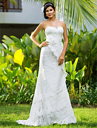 Lan Ting Sheath/Column Plus Sizes Wedding Dress - Ivory Court Train Sweetheart Lace