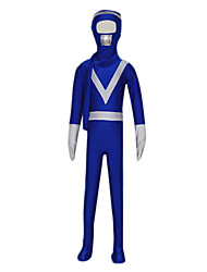 le zentai bleu de gardes du corps entier spandex enfant avec un foulard (6-8 ans)