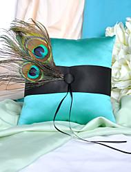 Elegante cuscino Anello con piume di pavone