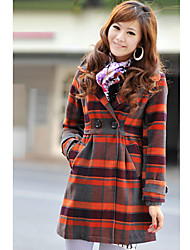 Women's Coat,Plaid Long Sleeve Winter Pink / Orange Wool Thick