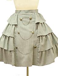 Vintage Military Short High Waist Side Krause Beige Baumwolle Punk Lolita Rock &