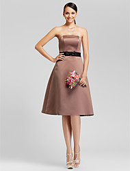 Lanting Knee-length Satin Bridesmaid Dress - Brown Plus Sizes / Petite A-line / Princess Strapless