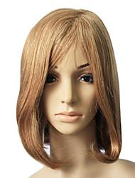 100% Real Human Hair brown Medium Length Straight Hair Wig