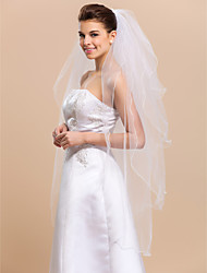 Wedding Veil Four-tier Fingertip Veils Pencil Edge 47.24 in (120cm) Tulle White WhiteA-line, Ball Gown, Princess, Sheath/ Column,