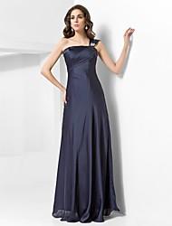 Formal Evening/Military Ball Dress - Dark Navy Plus Sizes Sheath/Column One Shoulder Floor-length Satin Chiffon