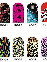 12PCS 3D полным покрытием ногтей Наклейки внезапный порошок Цветок серии (№ 4, разных цветов)
