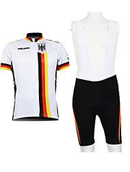 Kooplus Cycling Jersey with Bib Shorts Men's Half Sleeve Bike Breathable Quick Dry Waterproof Zipper Front Zipper WearableJersey + Shorts