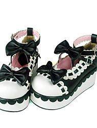Schuhe Niedlich Handgemacht Keilabsatz Schuhe Schleife 7 CM Rot / Schwarz / Gelb Für Damen PU - Leder/Polyurethan Leder