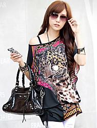 vrouwen luipaard print cape mouw blouse