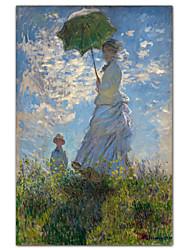 Женщина с зонтиком - Мадам Моне и ее сына Клода Моне известный постер