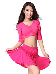 Dancewear Crystal Cotton Latin Dance Top For Ladies More Colors