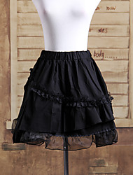 Short Black Cotton Multi-Layered Ruffles Gothic Lolita Skirt