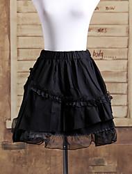 corta de algodón negro de varias capas volantes gothic lolita falda